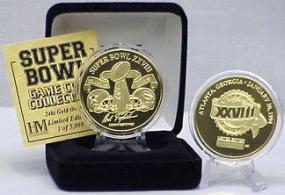 24kt Gold Super Bowl XXVIII flip coin