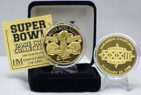 24kt Gold Super Bowl XXXII flip coin