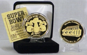 24kt Gold Super Bowl XXXIII flip coin