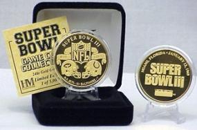 24kt Gold Super Bowl III flip coin