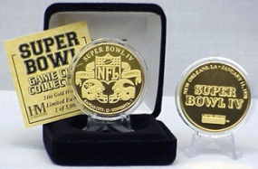 24kt Gold Super Bowl IV flip coin