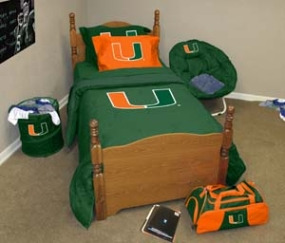 Miami Hurricanes Twin Size Bedding In A Bag