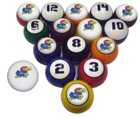 Kansas Jayhawks Billiard Balls