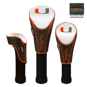 Miami Hurricanes Set of 3 Golf Club Headcovers