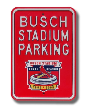 BUSCH STADIUM PARKING with logo Parking Sign