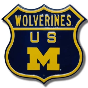 WOLVERINES US M logo Route Sign