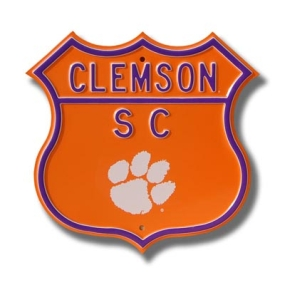 CLEMSON SC Paw logo Route Sign