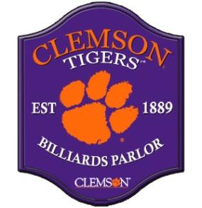 Clemson Tigers Pub Style Billiard Parlor Sign