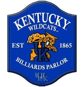 Kentucky Wildcats Pub Style Billiard Parlor Sign