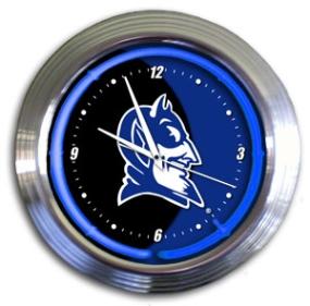 Duke Blue Devils Chrome Neon Clock