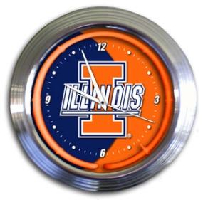 Illinois Fighting Illini Chrome Neon Clock