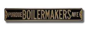 PURDUE BOILERMAKERS AVE Black Street Sign