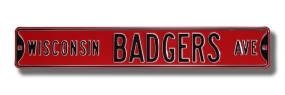WISCONSIN BADGERS AVE Red Street Sign