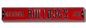 GEORGIA BULLDOGS AVE Red Street Sign