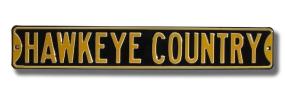 HAWKEYE COUNTRY - Black Street Sign