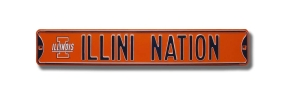 "ILLINI NATION with Block ""I"" logo Street Sign"