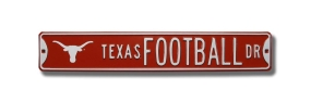 TEXAS FOOTBALL DR with Bevo logo Street Sign