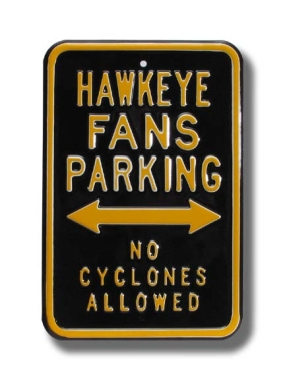 HAWKEYE NO CYCLONES Parking Sign