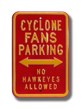 CYCLONE FANS NO HAWKEYES Parking Sign