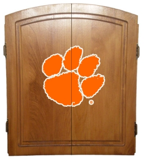 Clemson Tigers Dart Board Cabinet and Bristle Board