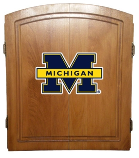 Michigan Wolverines Dart Board Cabinet and Bristle Board