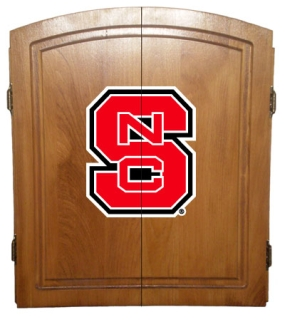 N.C. State Wolfpack Dart Board Cabinet and Bristle Board