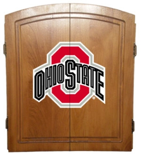 Ohio State Buckeyes Dart Board Cabinet and Bristle Board