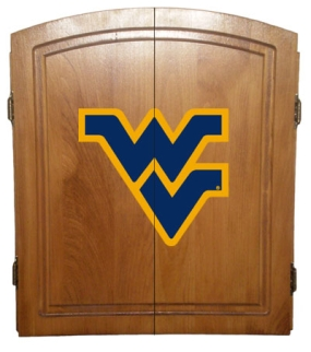 West Virginia Mountaineers Dart Board Cabinet and Bristle Board