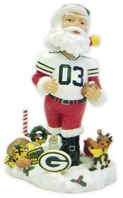 Green Bay Packers Santa White Jersey Bobble Head