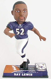 Baltimore Ravens Ray Lewis On Field Bobble Head