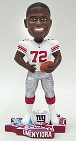 New York Giants Osi Umenyiora Super Bowl 42 Ring Bobble Head