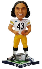 "Pittsburgh Steelers Troy Polamalu Super Bowl 43 Champion ""Ring"" Bobble Head"