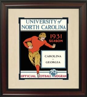1931 North Carolina vs. Georgia Historic Football Program Cover