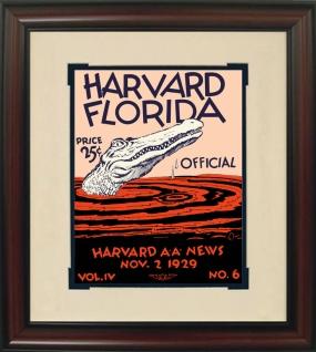 1929 Florida vs. Harvard Historic Football Program Cover