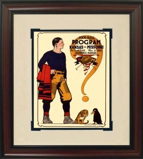 1914 Missouri vs. Kansas Historic Football Program Cover