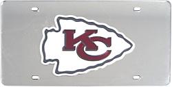 Kansas City Chiefs Laser Cut Silver License Plate