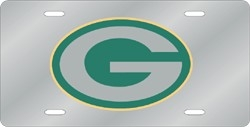 Green Bay Packers Laser Cut Silver License Plate