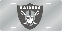 Oakland Raiders Laser Cut Silver License Plate
