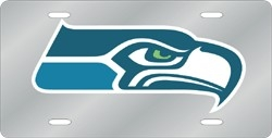 Seattle Seahawks Laser Cut Silver License Plate