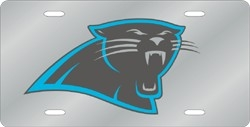Carolina Panthers Laser Cut Silver License Plate