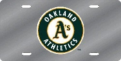 Oakland Athletics Laser Cut Silver License Plate