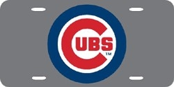 Chicago Cubs Laser Cut Silver License Plate
