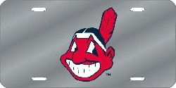 Cleveland Indians Laser Cut Silver License Plate