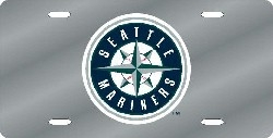 Seattle Mariners Laser Cut Silver License Plate