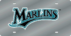 Florida Marlins Laser Cut Silver License Plate