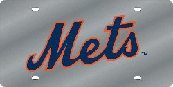 New York Mets Laser Cut Silver License Plate