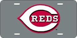 Cincinnati Reds Laser Cut Silver License Plate