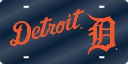 Detroit Tigers Laser Cut Blue License Plate