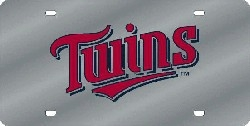 Minnesota Twins Laser Cut Silver License Plate