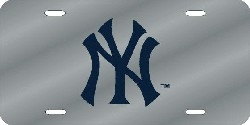New York Yankees Laser Cut Silver License Plate